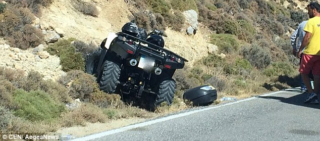 The scene of another quad bike accident in Zante, which hospitalised two British women