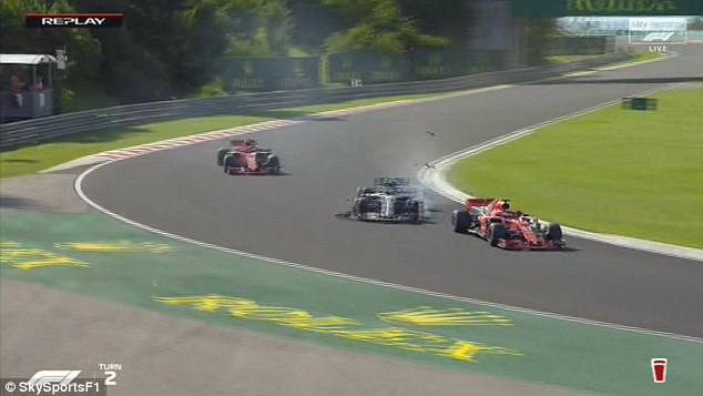 The Mercedes driver had nowhere to go on old tyres as he was under pressure from Ferrari