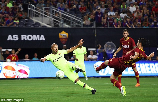 Rafinha put the Spanish side ahead when he was found by Munir El Haddadi's scooped pass