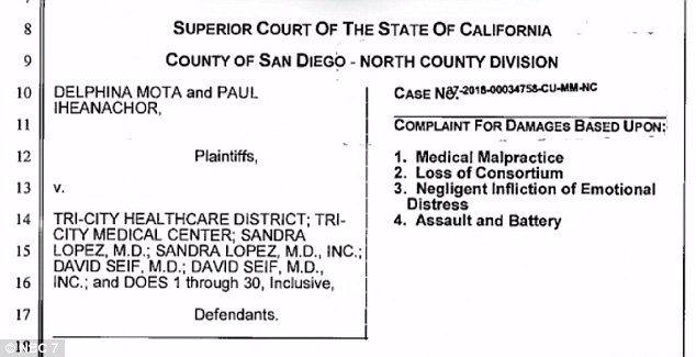 Mota has filed a lawsuit against Tri-City Hospital in Oceanside, California, claiming that the procedure they performed on her amounted to malpractice and assault