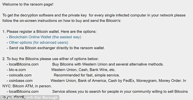 A typical ransom page that would have been seen by anyone trying to use their computer