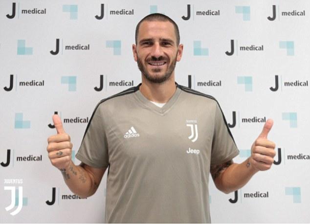 Leonardo Bonucci poses in a Juventus training top as he prepares to be unveiled