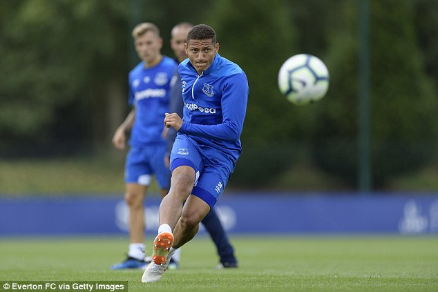 Richarlison during the Everton training session at USM Finch Farm on Thursday afternoon