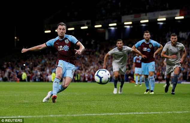 Ashley Barnes scores their third goal from the penalty spot in the second period of extra-time