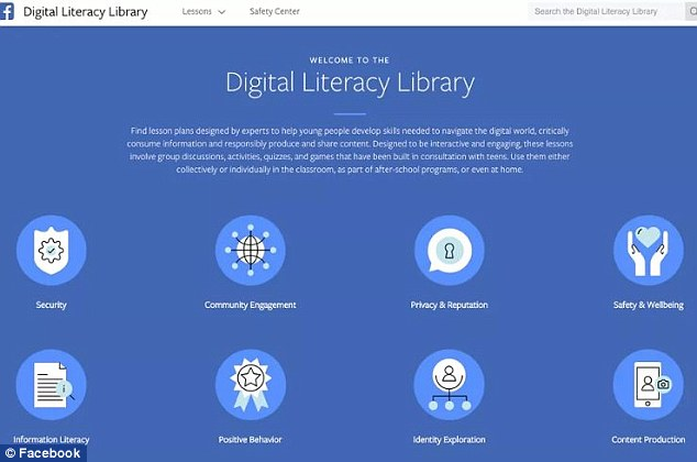 Facebook has launched a new tool to help teenagers use the internet responsibly. Its Digital Literacy Library is filled with free lessons and videos on topics such as privacy, internet security and building healthy relationships online (pictured)