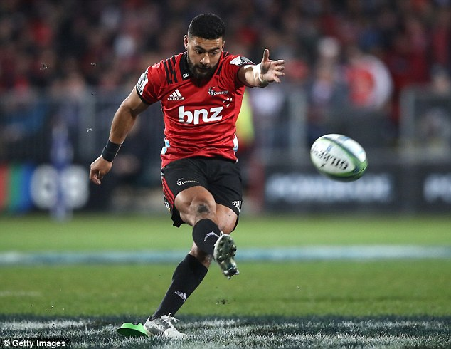 Richie Mo'unga of the Crusaders kicked 17 points to inspire them to a Super Rugby final win