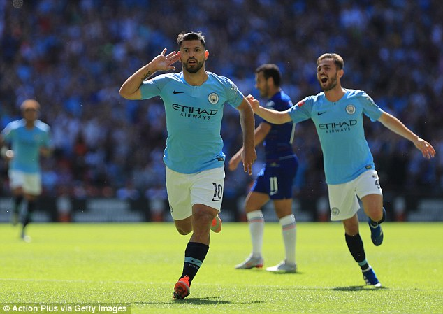 Sergio Aguero scored twice as Manchester City beat Chelsea to win the Community Shield
