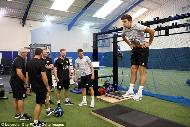 Harry Maguire showed he has not been slacking while away as he is tested for his leap