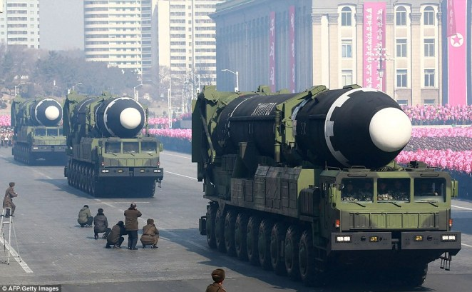It is thought that North Korea already possesses nuclear missiles capable of striking the mainland United States after it tested the Hwasong-15 Intercontinental Ballistic Missile (pictured) last year