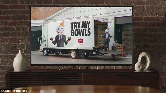 Near the end, we see Jack on the back of a truck featuring his picture and the words 'Try my bowls' on the side, shouting 'Try my bowls,' enthusiastically