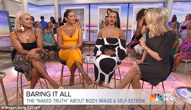 Naked truth: Chinae appeared on Megyn Kelly Today with Mia Kang (middle) and Dascha Polanco (right) to talk about the issue