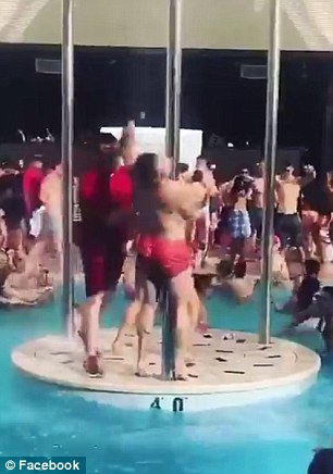 Juan Casado shared a video with Donohoe that shows him being pushed off a dance platform at the Encore pool by a security guard while showing off his moves