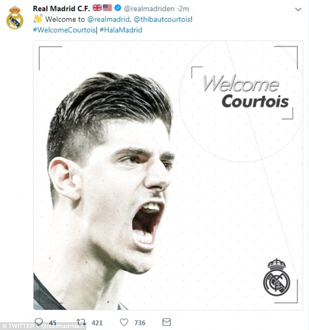 Real Madrid tweeted on Wednesday night to welcome their new goalkeeper to the club