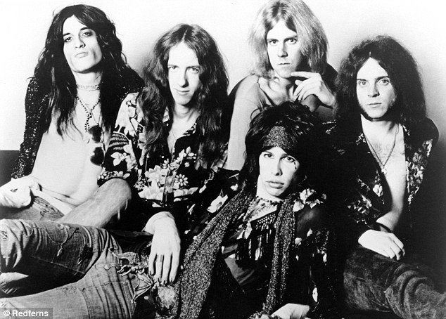 Aerosmith pictured on January 1, 1974. Left to right is Joe Perry, Brad Whitford, Tom Hamilton, Steven Tyler and Joey Kramer