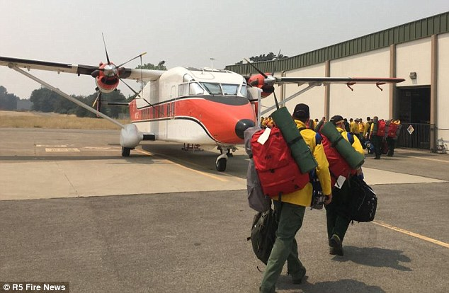 Photos of the Australian and Kiwi firefighters arriving in Redding by plane were posted on Twitter on Tuesday by the US Forest Service