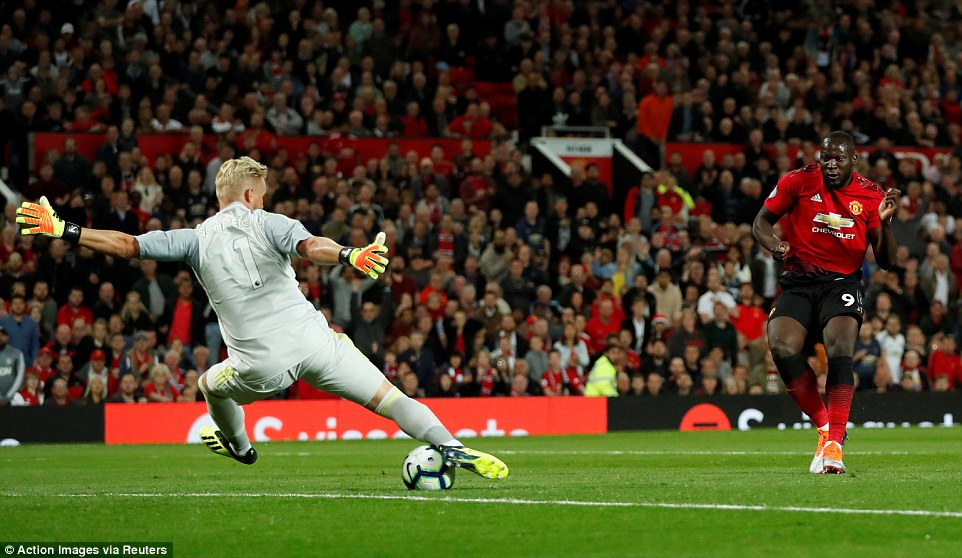 The Belgium international then should have scored when clear 10 yards out, but Kasper Schmeichel made a brilliant save