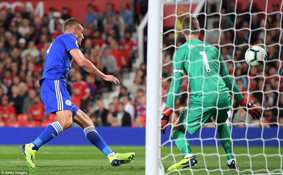 Vardy poached a goal after David De Gea and Eric Bailly mixed up and left a cross from Ricardo which clipped the far post