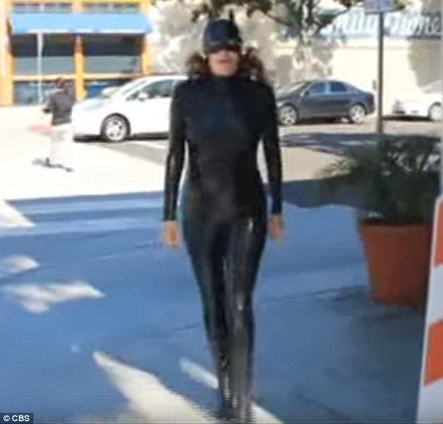 In another famous incident in 1992, she arrived at the Batman Returns set in a homemade Catwoman suit after she lost out on playing the part.Years later, Young donned a cat suit for a skit on the Late Show with David Letterman (pictured)