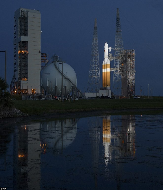 United Launch Alliance Delta IV Heavy rocket with the Parker Solar Probe onboard shortly after the Mobile Service Tower was rolled back this morning