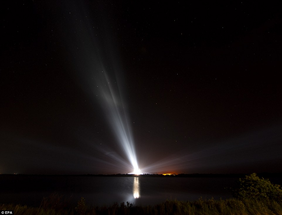 The United Launch Alliance Delta IV heavy rocket with the Parker Solar Probe is illuminated ahead of launch at Cape Canaveral Air Force Station