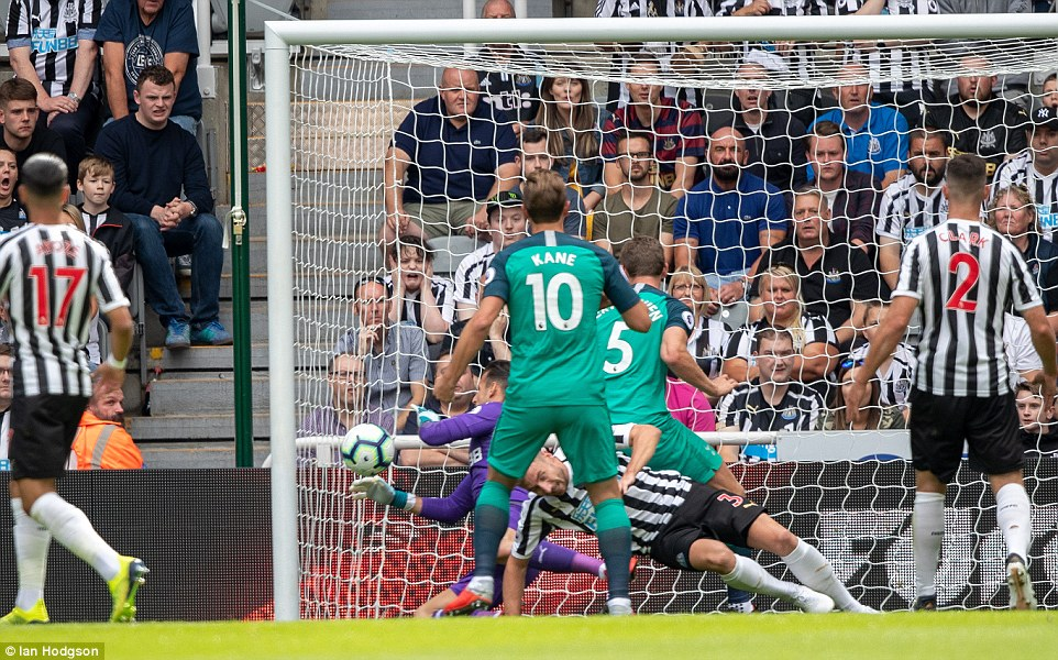 Tottenham's Jan Vertonghen scores their first goal of the match after it was awarded by goal-line technology in eighth minute