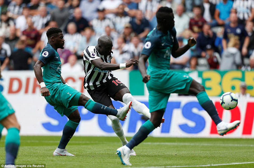Newcastle midfielder Mohamed Diame struck the post with a left-footed shot just moments into second half on Saturday
