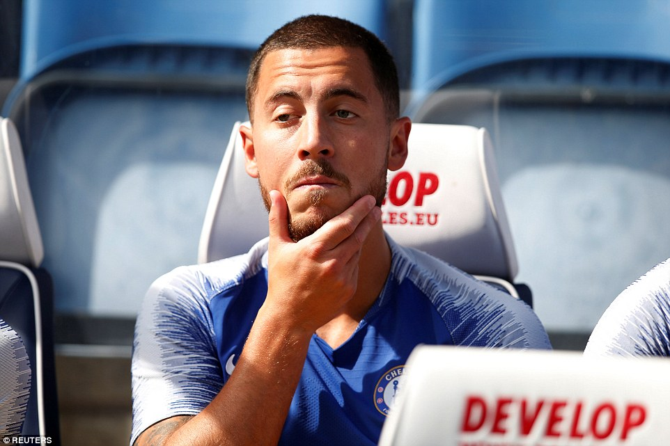 Hazard cut a frustrated figure as he took his place on the Chelsea substitutes' bench before kick-off at the John Smith's