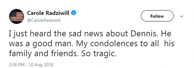 Carole Radziwill, Bethenny's one time best friend, was among the first to address the tragedy on Friday