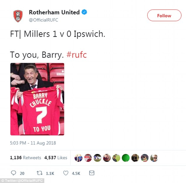 'To you': Rotherham FC shared their own social media tribute to Barry, writing: 'FT| Millers 1 v 0 Ipswich. To you, Barry #rufc' alongside a snap of the star holding his own personalised jersey