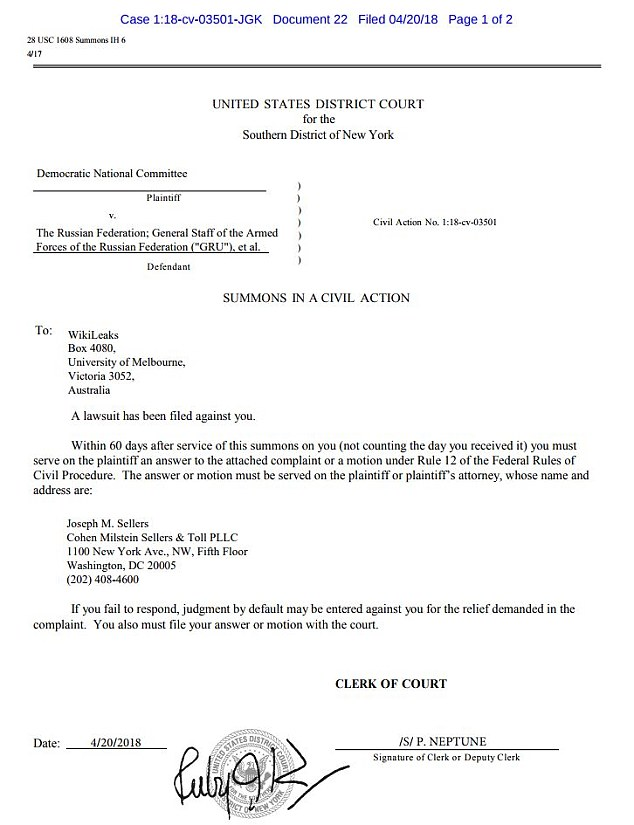 Among the four documents that were linked to in the DNC lawyers' tweet was the official lawsuit summons (shown), which had been filed on April 20