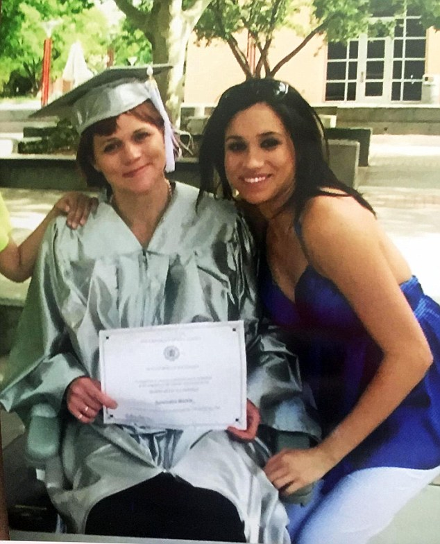 Pictured: Meghan with half-sister Samantha at her 2008 graduation
