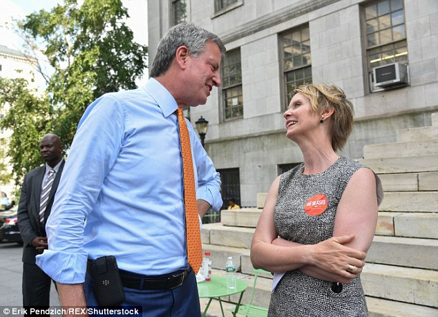 Newly released emails show that New York gubernatorial candidate Cynthia Nixon (right) served as NYC Mayor Bill de Blasio's (left) conduit to the celebrity world for several years