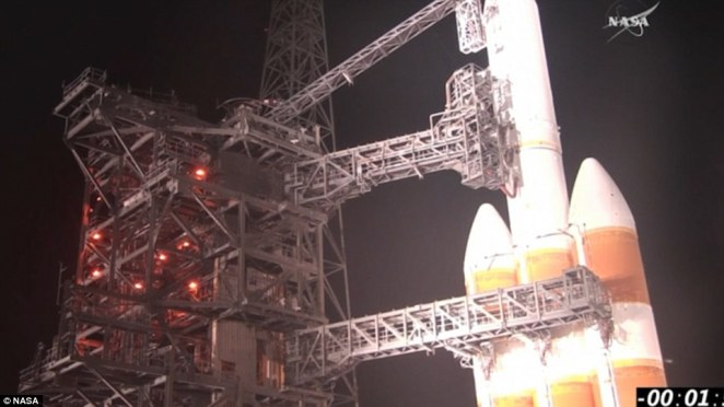 Ready to go: The conditions are clear for the probe to take off this morning