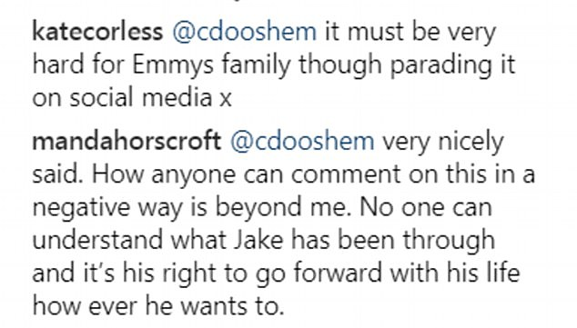 Jake's followers on Instagram had a mixed reaction to the news he was in a new relationship