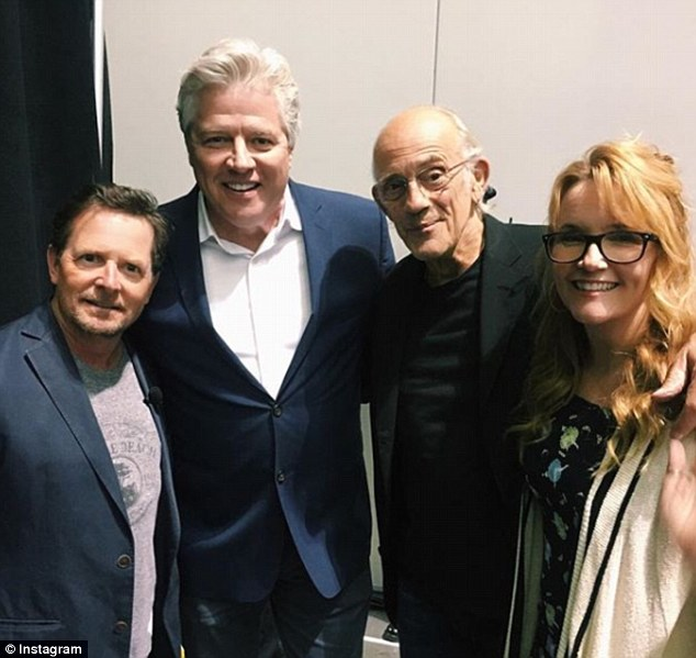 Back (together) to the future:Original stars of Back To The Future Michael J Fox, Lea Thompson, Christopher Lloyd and Thomas Wilson have reunited 33 years on from the release of the first film in the popular sci-fi franchise
