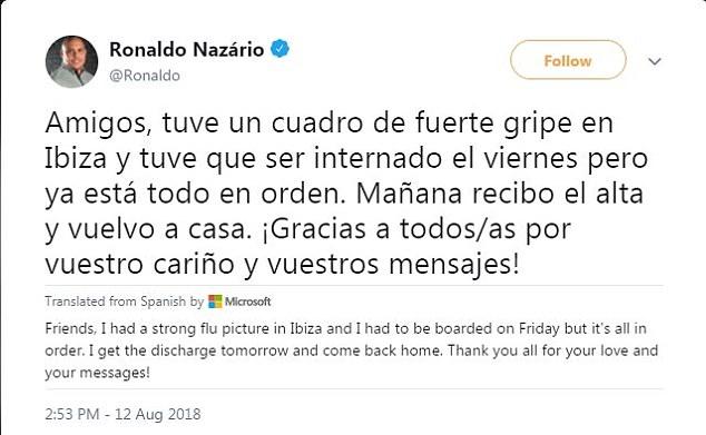 Ronaldo a pris Twitter dimanche après-midi pour confirmer son bien-être