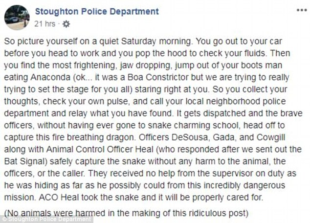 The police department joked about removing the 'fire breathing dragon' on Saturday