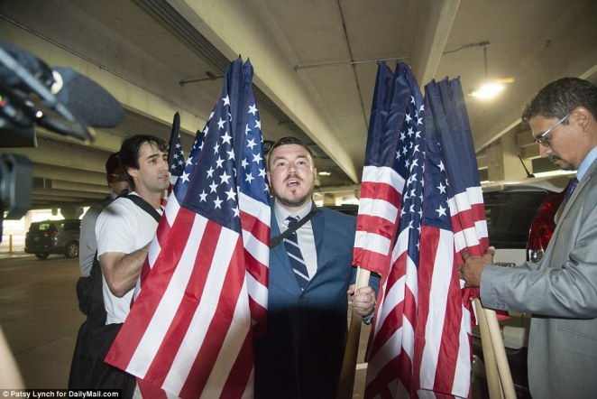 Hundreds of white supremacists have arrived in Washington, DC, for a far-right rally that coinciding with the anniversary of last year's deadly Charlottesville, Virginia, riots. Unite the Rite organizer, Jason Kessler (pictured) was spotted arriving at the Vienna station ahead of the protests