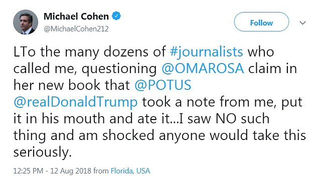 'I saw NO such thing,' Cohen tweeted, 'and am shocked anyone would take this seriously'
