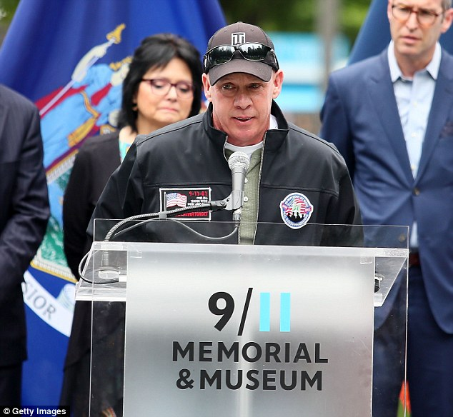 Founder of the FealGood Foundation, John Feal attends the design unveiling of 9/11 memorial to honor 9/11 rescue workers on May 30, 2018 in New York City. Feal said: '9/11 is still killing'