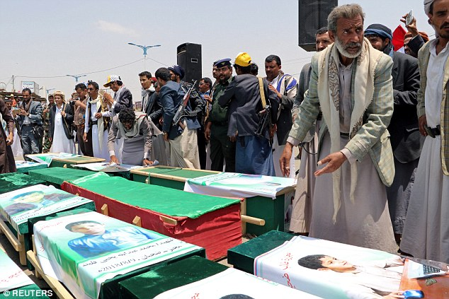 The mass funeral was held in Saada city, a stronghold of the Iran-backed Houthi rebels