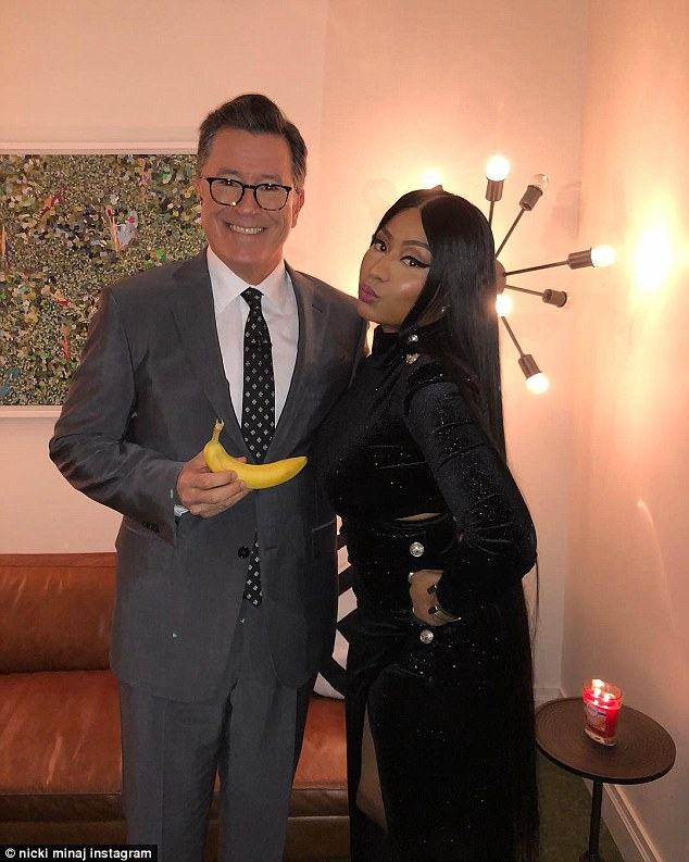 Going bananas!She gave fans a glimpse of her appearance on Colbert with a backstage Instagram besides the host, who was holding a banana