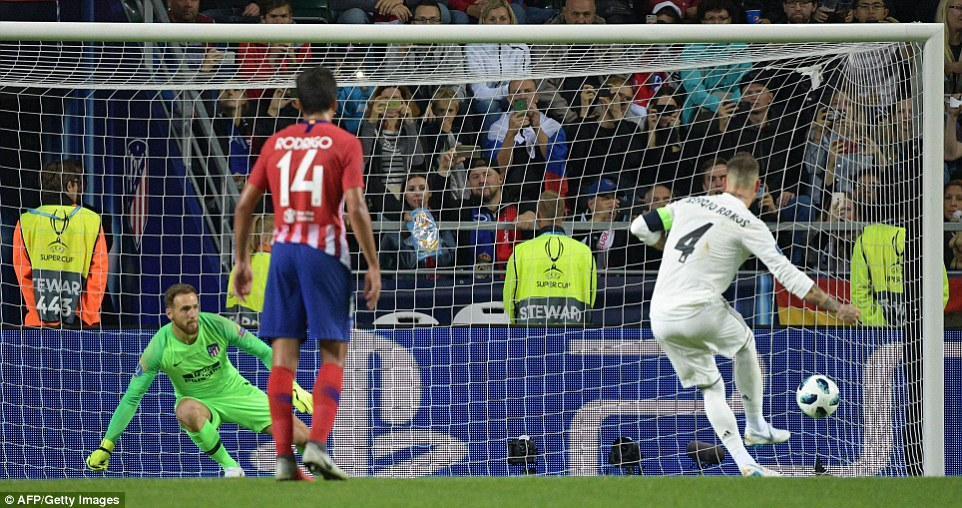 Ramos sent Atletico Madrid's goalkeeperJan Oblak the wrong way from 12 yards in the 63rd minute of the final on Wednesday
