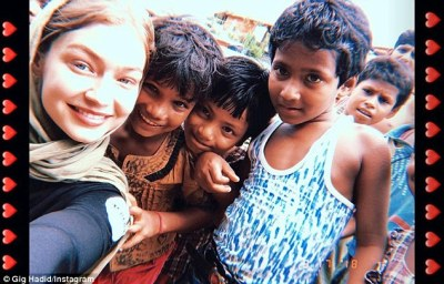 """Helping hand:""""Cox's Bazaar, Bangladesh is now home to the largest refugee camp in the world,"""" explained the 23-year old model in a post to her Instagram Story as she arrived at the camp"""