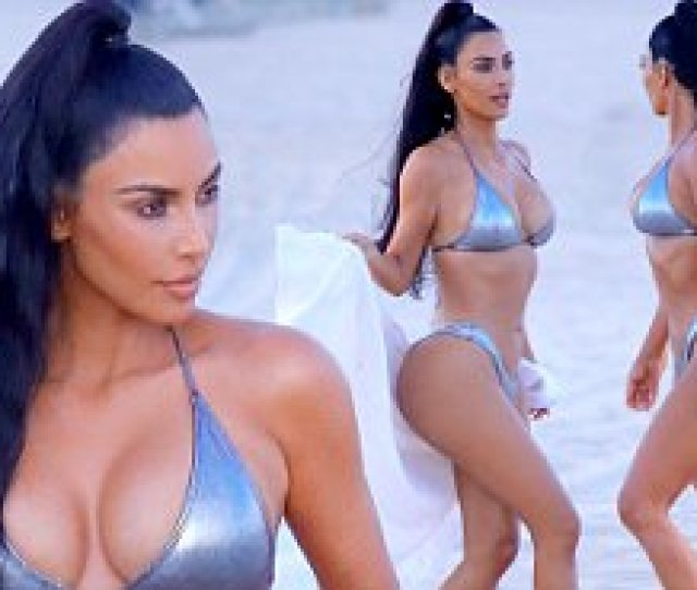 Kim Kardashian Wears Sexy Silver Suit As She Poses Away In Miami