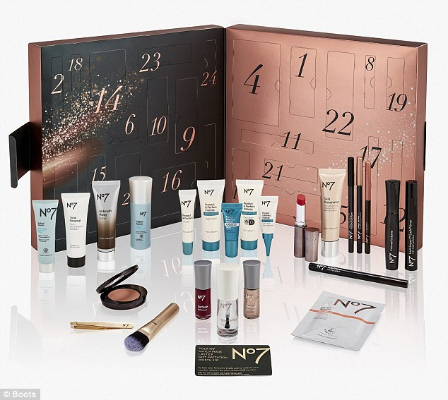 The waiting list for the £42 No7 beauty advent calendar opens on 29th August, but it doesn't go on sale until 18th October. Products include primer, two gel finish nails colours in Golden Sands and Deep Wine, Hydrogel eye masks and Protect & Perfect Lip Cream