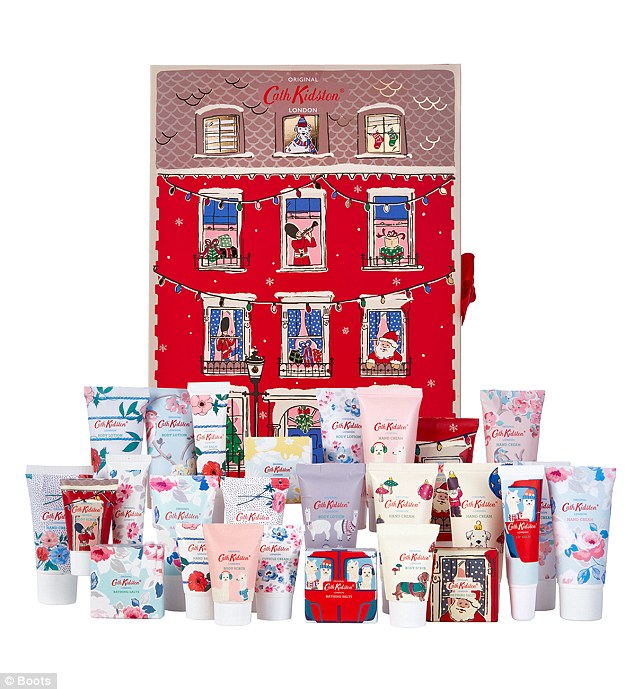 This cute Cath Kidston advent calendar, £40, which goes on sale at Boots on 17th September contains 8 x 30ml Hands Creams, 4 x Cuticle Creams, 4 x Hand Balms and 8 x Bathing Salts