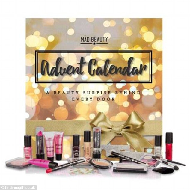 On sale already at findmeagift.co.uk reduced from £24.99 to £10.99, the Mad Beauty advent calendar contains three nail polishes, five lip gloses and tools such as lip and blusher brushes