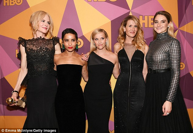 Nicole Kidman, Zoe Kravitz, Reese Witherspoon, Laura Dern Shailene Woodley of Big Little Lies