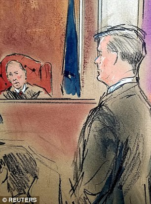US President Donald Trump's former campaign chairman Paul Manafort faces judge T.S. Ellis, found guilty of eight of the 18 charges he was responsible for in a case of bank and tax fraud in the US District Court in Alexandria, Virginia